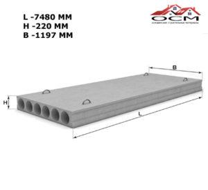 Плита перекрытия бетонная ПБ 75.12-8 К-7